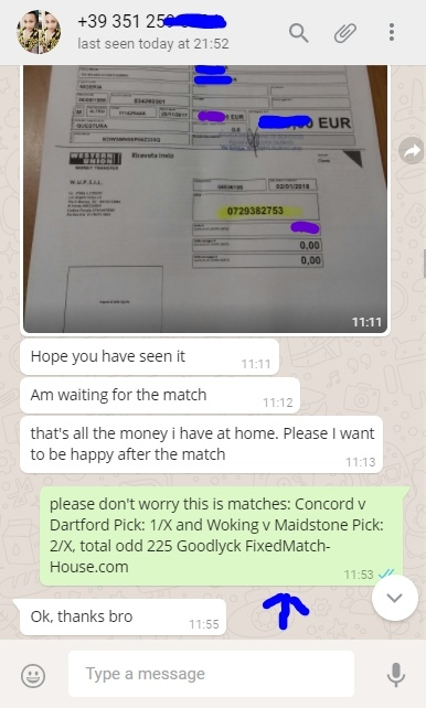 WhatsappProof 06.01 fixed matches, soccer fixed matches, football fixed matches, 100% sure, betting predictions